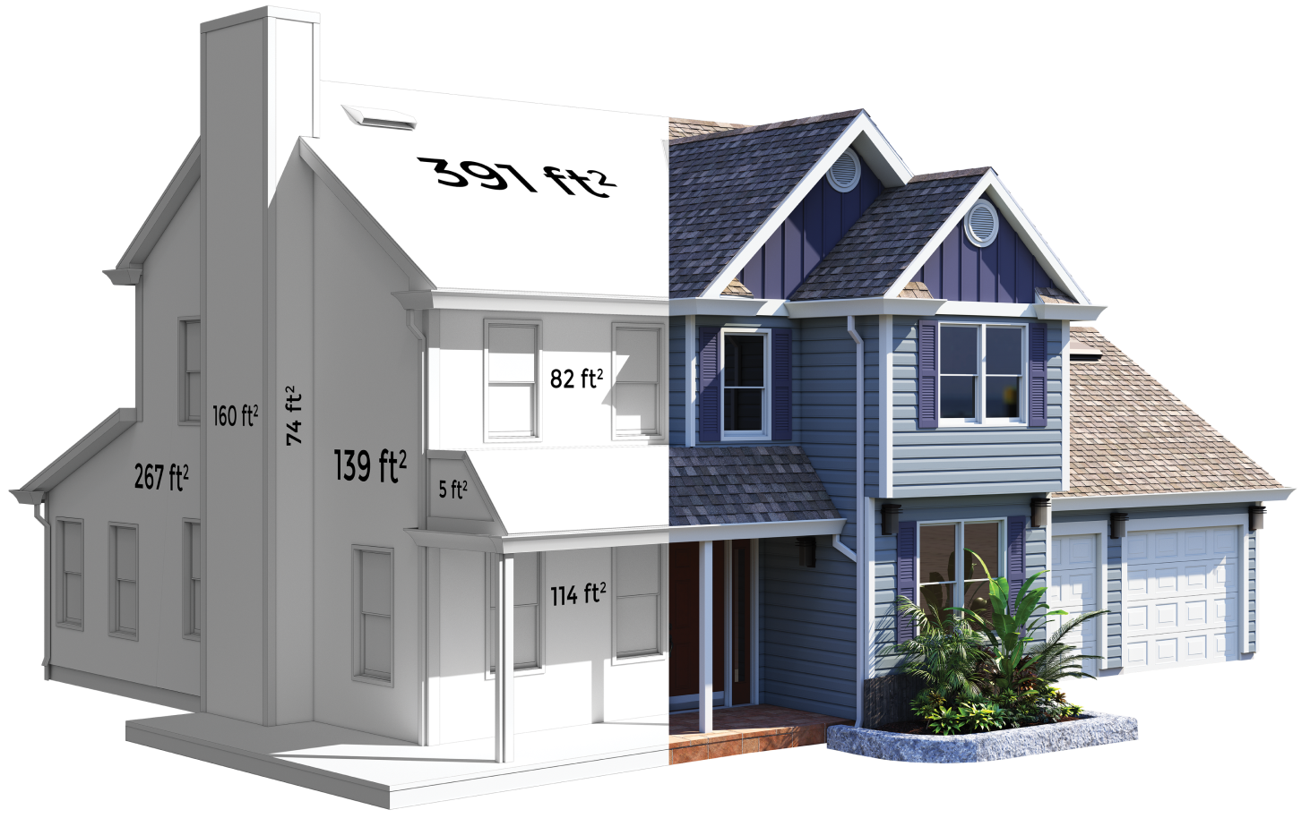 A rendered image of a house with a cutaway showing various dimensions of surfaces