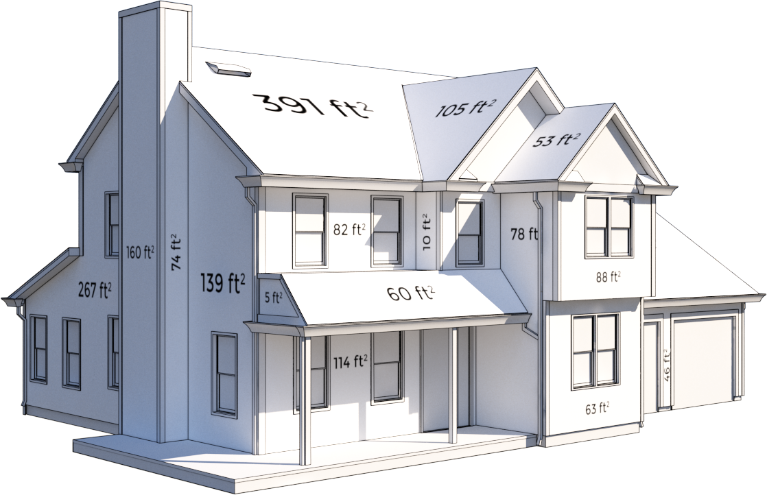 A blueprint image of a house with various measurements on each surface