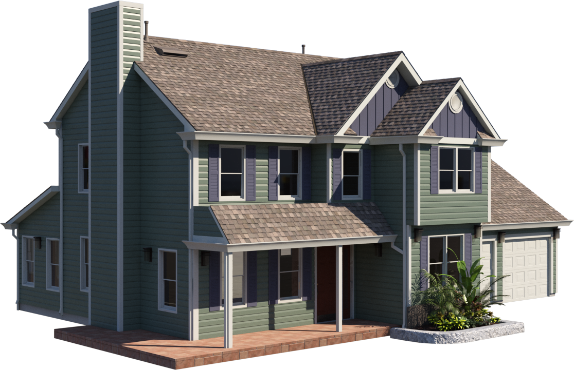 A rendered image of a house with textured surfaces